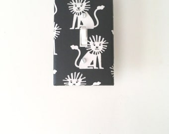 Black White Light Switch Plate- Mini Lions Switch Cover-Monochrome  Outlet Cover-Kids Room-Modern Light Switchplate-Michael Miller