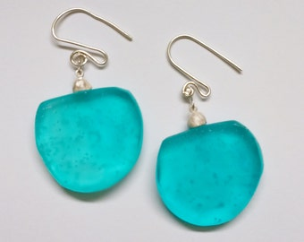 Turquoise epoxy resin, resin, resin Earrings by tabulalaDesign
