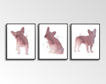 French Bulldogs, Set of 3 Prints, Watercolor Bulldogs, French Bulldog Art, Large Wall Décor, Bulldog Art Printable, French Bulldog Set, Gift