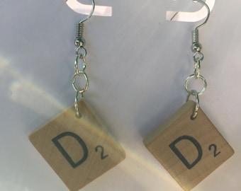GP016 - Scrabble tile D earrings