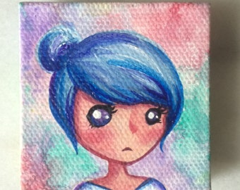 Original Mini Acrylic Canvas - Hand Painted- Pixie Blue