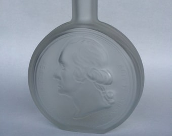 George Washington, Vintage Bottle, Wheaton glass, Glass Decanter, frosted glass, presidential souvenir, frosted bottle, first president