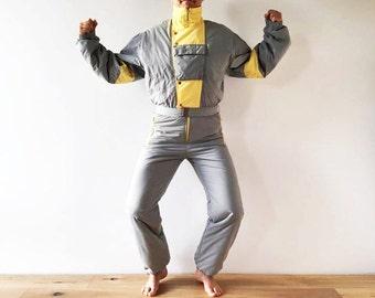 80s 90s Gray Yellow One Piece Ski Suit Retro Gray Colorblock Snowsuit Hipster Snow Pants Outdoor Winter Wear Snow Gear Jumpsuit Size Medium