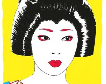 Japanese Geisha Art Print - A4 size - Portrait