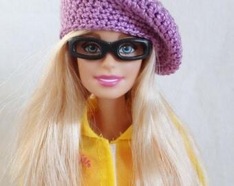 Purple Barbie doll beret, hat for Barbie-like dolls