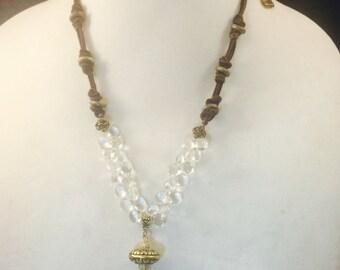 Tibetan Pendant Necklace w/Crystal Quartz