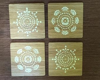 Handmade wood coasters set of 4
