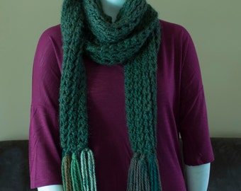 Green Scarf with Tassels