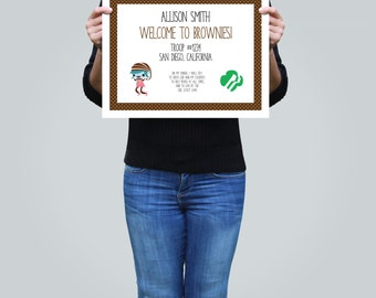Instant Download! Welcome to Brownies Girl Scout Certificate - Editable Printable PDF