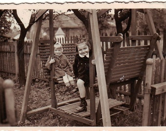 Vintage Photo - Cute girls on a swing - Little girls photo - Cute children - Vintage Snapshot - Polish Photo - Children photo - 1930s Photo