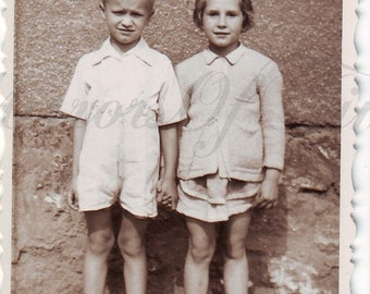 Vintage Photo - Young couple - Little girl and boy photo - Cute children - Vintage Snapshot - Polish Photo - Children photo - 1930s Photo