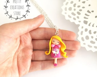 Little doll necklace, Little Doll Necklace, Doll jewelry, kawaii doll, doll, Doll chibi polymer clay, handmade doll, girly necklace