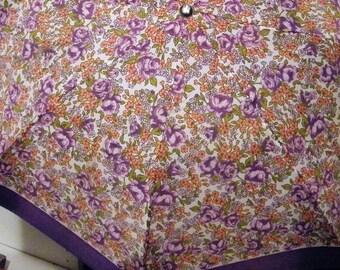 Beautiful Ladies Silk Umbrella/Parasol marked made in Japan 1960's?