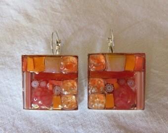 Mosaic sleepers earrings and millefiori