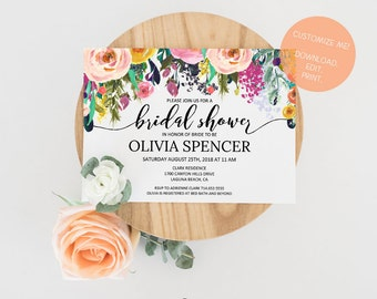 Editable Bridal Shower Invitation | Customized Bridal Shower Invite | Instant Download Watercolor Floral Bridal Shower Invitation