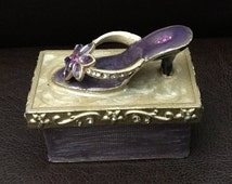 Vintage Painted Pewter High Heel Sandal Trinket Box with Inlaid Crystals and Gems