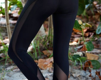 Athletic Fitness Pant - Black Mesh Capri Women Yoga Active Pant...A Temptress Of The Sea, A Mermaid You Can Be!