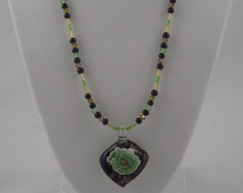 Glass Blown Flower Beaded Necklace
