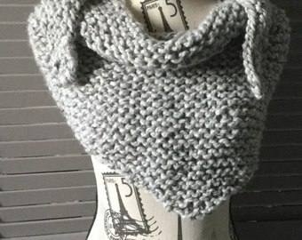 Chunky Handknit Wrap Scarf with Tapered Ends