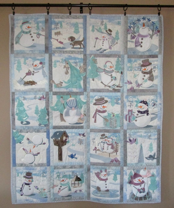 Snowman Wall Hanging - Machine Embroidered, Home Decor, Winter Decor