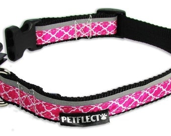 Think Pink Reflective Dog Collar