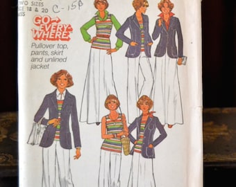 Simplicity 7930, UNCUT 1970s Vintage Pattern Clothing Sewing Pattern, Size 18 & 20