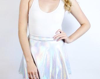 Holographic Silver Metallic Spectrum Skater Skirt