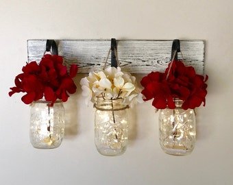 Mason Jar Wall Decor, Rustic Home Decor, Painted Mason Jars, Lighted Mason Jars, Gifts For Her, Party Decorations, Mothers Day Gifts,