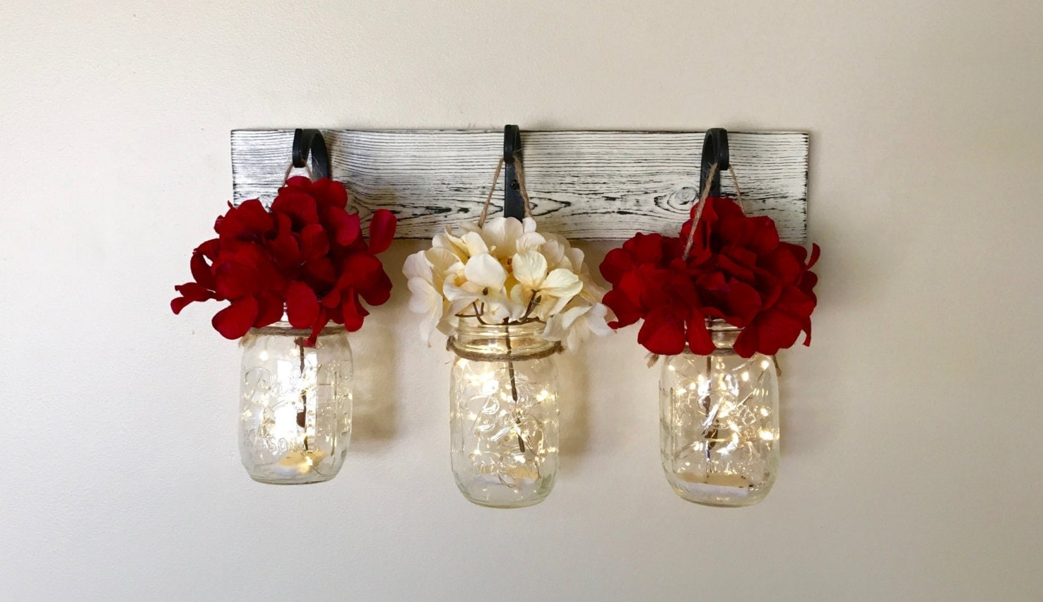mason jar wall decor rustic home decor painted mason jars