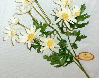 "Lot of Three 24"" Cream-white Daisy Bush with 2.5"", 1.5"" and 1"" BLOOMS from WINDWARD SILKS"
