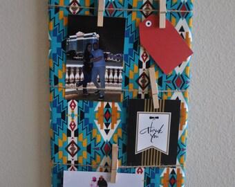 READY TO SHIP - Photo Board, Memo Board, Clothespin Photo Board, Tribal Photo Board, Tribal Memo Board
