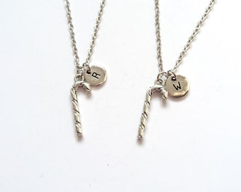 Candy Cane Necklaces, Best Friend Necklaces, BFF, Christmas Gift, Holiday Jewelry, Christmas Jewelry, Initial Charm (CH5)