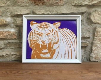 LSU Tigers Print: Lousiana State University, Tiger, Purple, Yellow, College Football, Mike the Tiger, Baton Rouge, Mascot, LSU Football