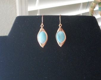 Solid copper and Amazonite dangle artisan earrings