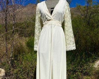 Vintage 70's Lace Maxi Dress sz Sm