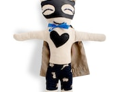 Rag doll bunny-superhero-boy-Mister Bunny-Super Doudou for kid in printed rabbits