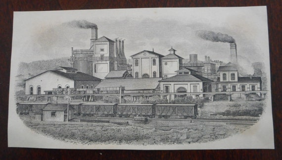 SALE 30% OFF Small Engraving Etching Factory or Industrial Town Paper Ephemera Good Condition!