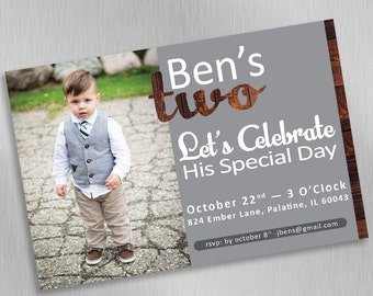Personalized Creative Birthday Invitation, Two Years Old! Digital Download, Custom, Print at Home