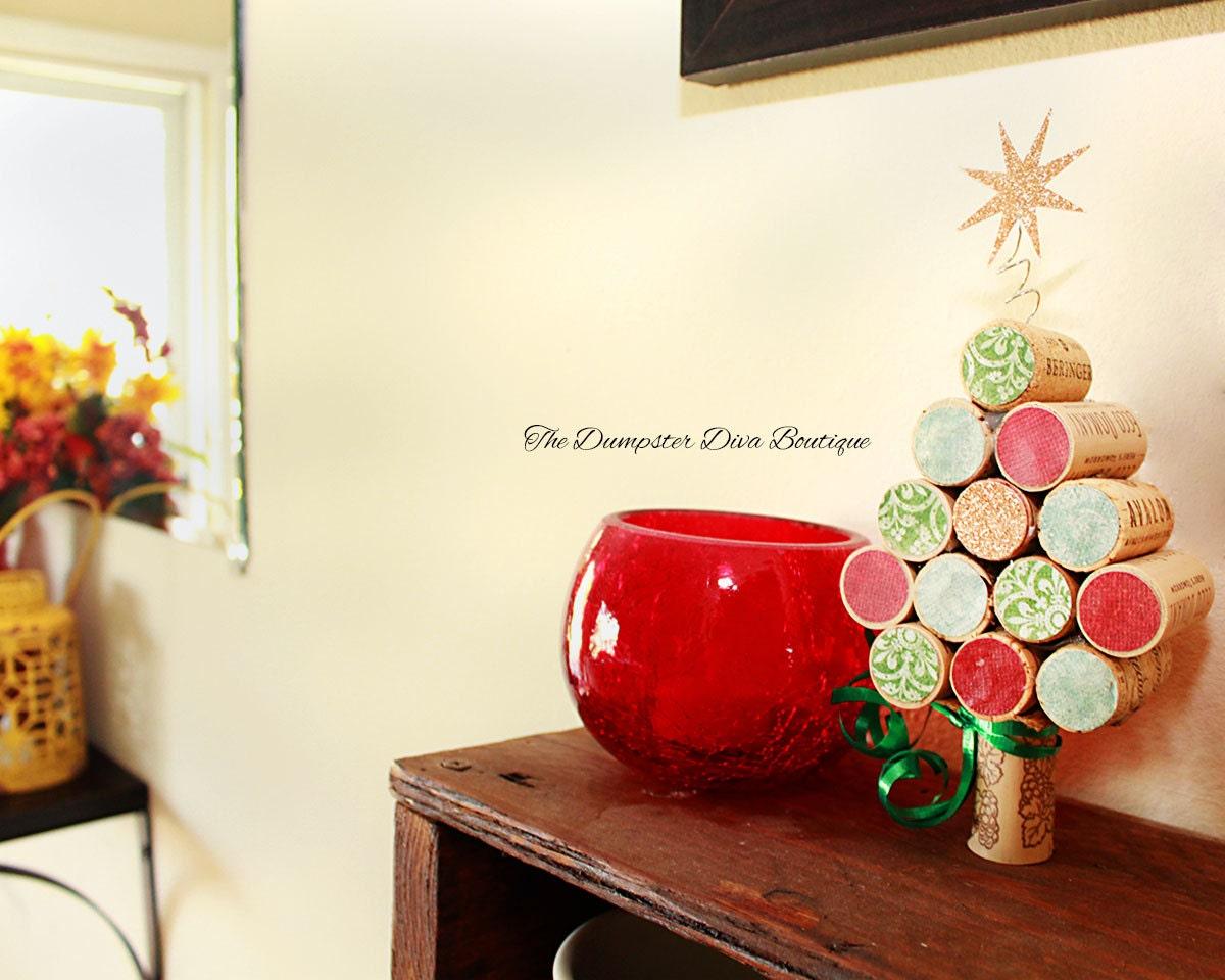 cork christmas tree wine cork tree christmas decor wine. Black Bedroom Furniture Sets. Home Design Ideas
