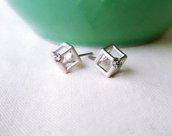 Cube earrings/ Silver plated earrings Stud earrings/ CZ earrings, geometric earrings