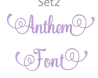 5 Size Anthem Font Embroidery Fonts BX Set 2 Instant Download 9 Formats Embroidery Pattern Machine BX Embroidery Fonts PES