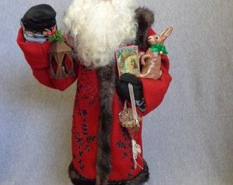 Handmade Santa -Old World Father Christmas- OOAK Sculpted Santa Claus by Nonna's Santas- Merry Christmas- Tis The SEason