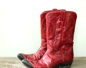 vintage Tony Lama boots . womens cowboy boots . true size 8 . red cowboy boots, western cowgirl boots . leather cowboy boots