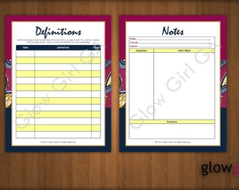 Study Class Notes, Definitions - High School, College, Planner Pages - Letter, Instant Download