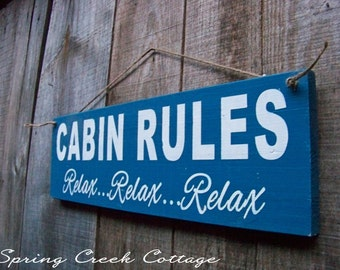 sign cabin rules lake wood sign cabin lake house decor handpainted typography lodge custom sign rustic home decor made to order - Custom Signs For Home Decor
