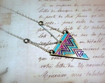 Boho Triangle Necklace - Pink, Teal, Purple, Dark Blue, Sterling Silver, Brass, Hand Painted, Bohemian Jewelry, Gifts for Her, Gypsy