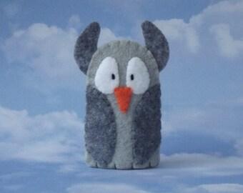 Grey Owl Finger Puppet - Felt Owl Finger Puppet - Felt Owl Puppet - Felt Finger Puppet Owl - Bird Finger Puppet