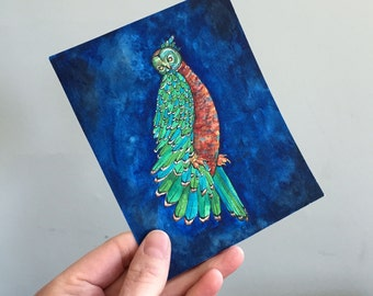 Owl Illustration with Deep Jewel Tones Original Art - No. 7 - Watercolor and Ink Blue navy royal blue colors - affordable art OOAK