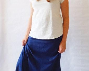 size MEDIUM Navy Maxi Skirt womens Long skirt Cotton Jersey floor length Aline maxi skirt ankle length yoga waistband maternity skirt