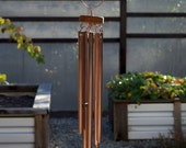 Wind Chime Beach Glass Kaleidoscope with Large Copper Chimes sea glass stained glass windchimes